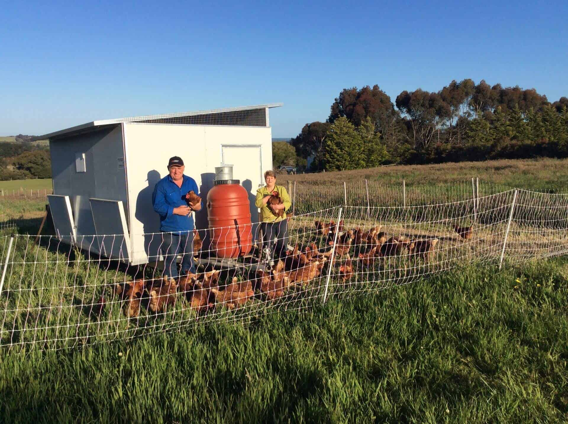 Peter and Rosemary from Edd's Moveable Chooks surrounded by Chickens