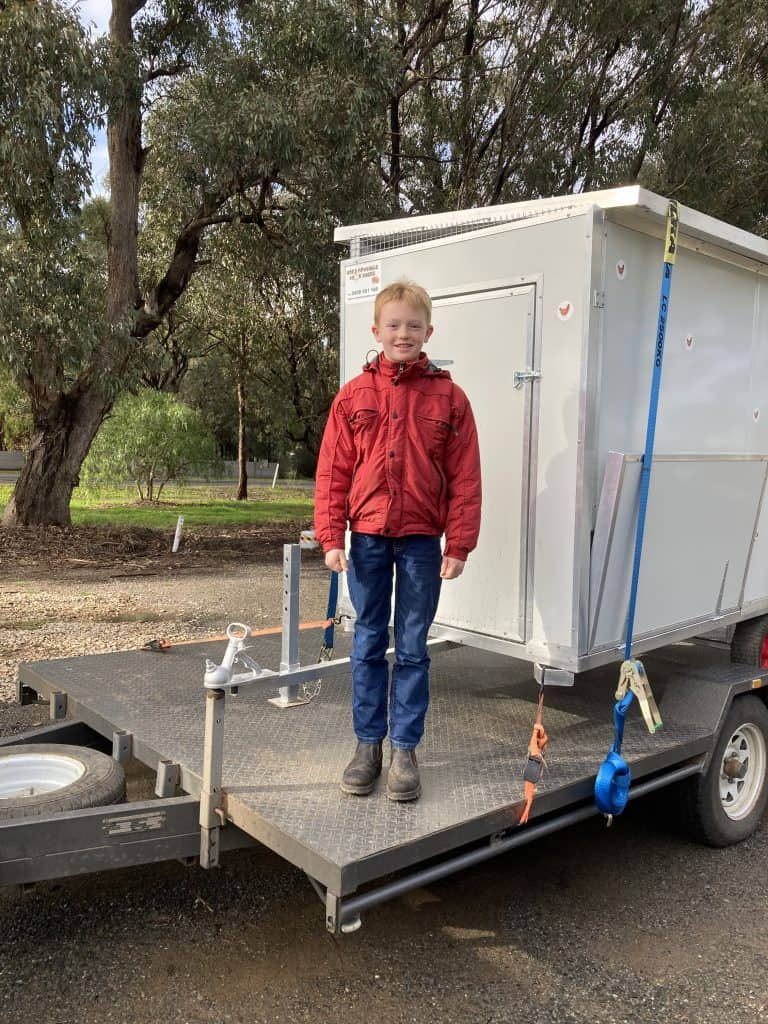 Jamie with his new 30-40 bird moveable chook shed